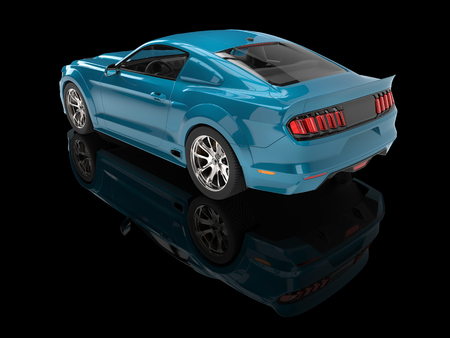 car isolated: Metallic bright blue modern muscle car - back view Stock Photo