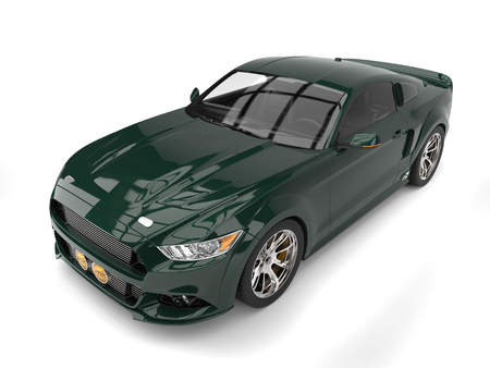 car isolated: Forest green modern american car
