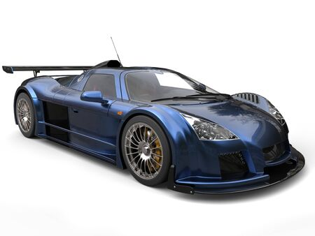 Cool metallic blue racing supercar - studio shot