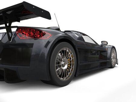 Dark gray racing supercar - tail view Stock Photo