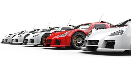 Red supercar standing out in a row of great white cars Stock Photo