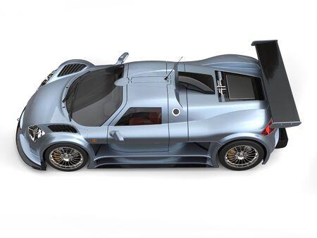 light slate gray: Light slate gray metallic flake paint supercar - top down side view