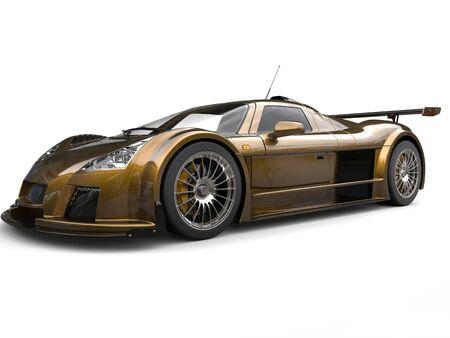 Dark metallic yellow super race car - beauty shot