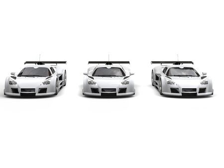 racing: Three white great racing cars - front view Stock Photo