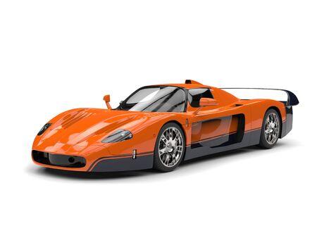 car tire: Orange concept race super car with black decals Stock Photo