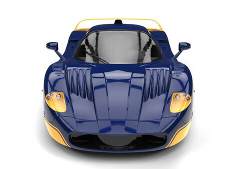Dark indigo supercar concept with yellow details - front view
