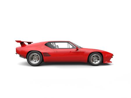 赤ヴィンテージ コンセプト レースカー - 側面図 写真素材