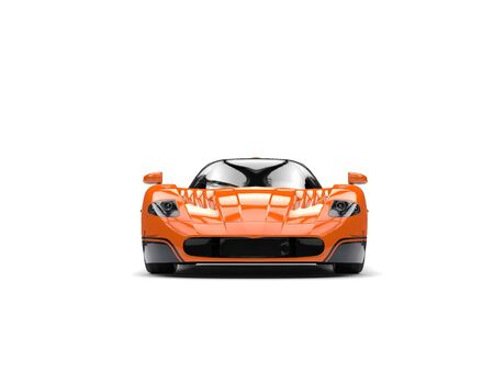 Orange concept race super car with black decals - front view Stock Photo