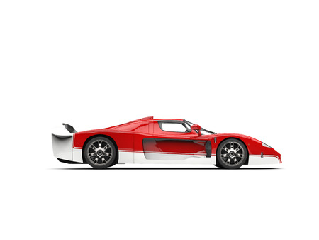 Concept race super car - red and white - side view