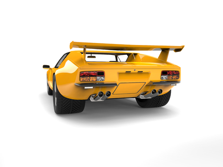 Yellow vintage concept race car - back view Stock Photo - 80024212