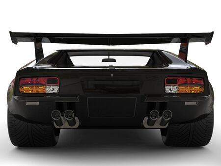 Metallic black eighties sports car - back view closeup shot