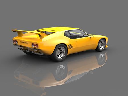 Sun yellow eighties sports car  - showroom shot Stock Photo