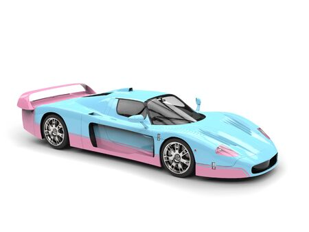 Candy blue and pink concept supercar Stock Photo