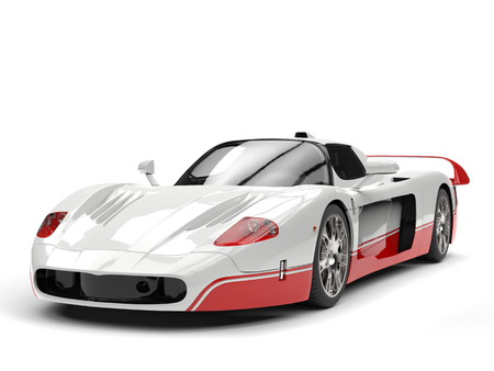 coupe: White concept super car with red details - studio shot