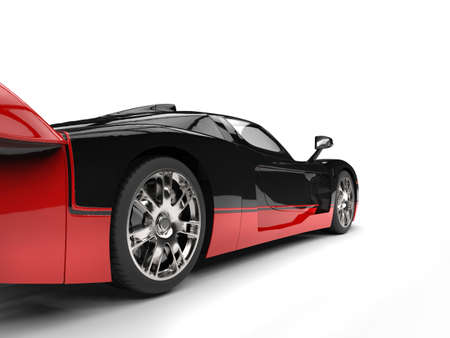 headlight: Black and red awesome concept super car - rear wheel shot