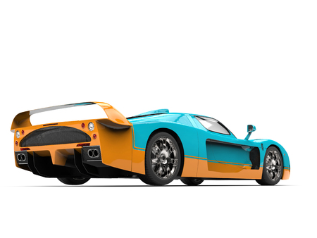 Turquoise concept super car with orange details - back view low angle shot