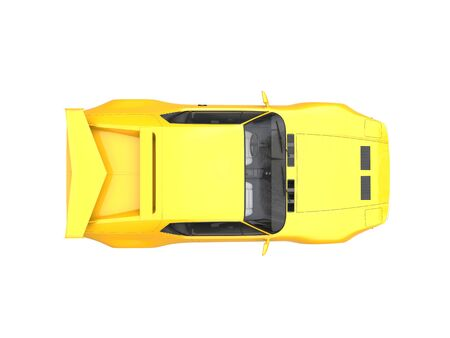 coupe: Bright yellow vintage concept race car - top down view