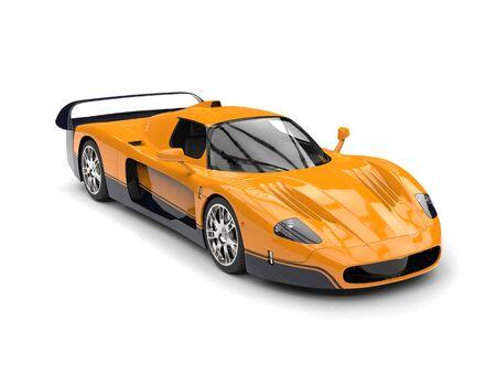 Dark yellow concept race super car with black decals - studio shot Stock Photo