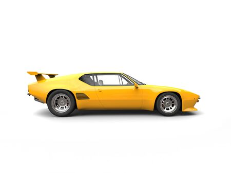 car tire: Bright yellow vintage concept race car - side view Stock Photo