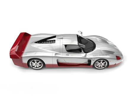 Silver concept supercar with cherry red decals Stock Photo