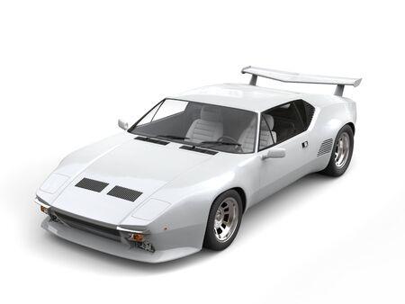 coupe: Cool white eighties sports car - studio shot Stock Photo