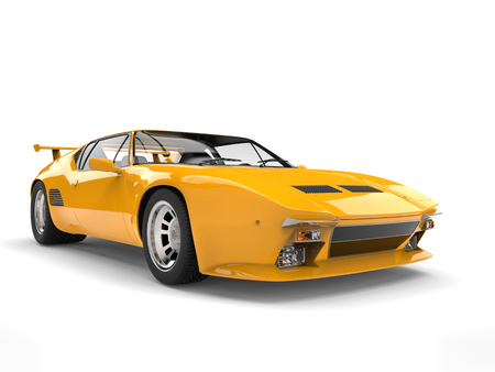 Yellow vintage concept race car Stok Fotoğraf
