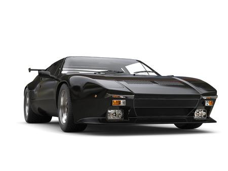 shiny car: Black shiny eighties sports car - beauty shot