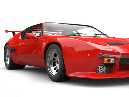 car tire: Eighties red sports car - front wheel closeup shot