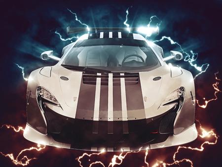 coupe: Urban sportscar - thunder and lighting - 3D Illustration Stock Photo