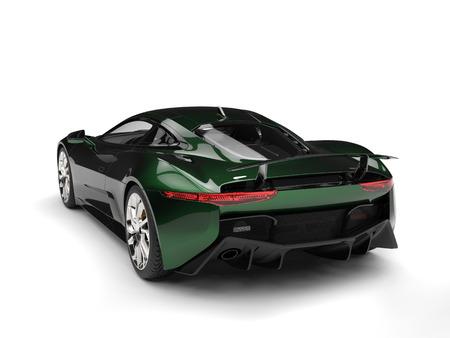 car tire: Metallic dark green elegant sports car - tail view