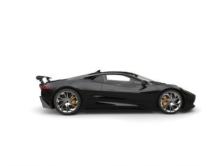 car tire: Grim black modern super sports car