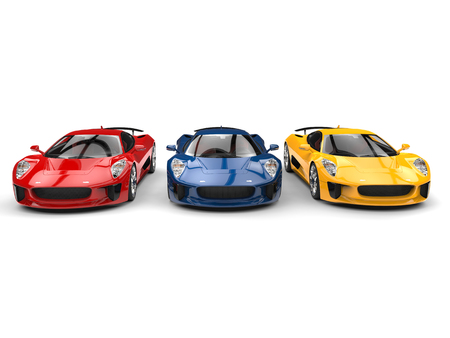 Beautiful sports cars in primary colors Stock Photo