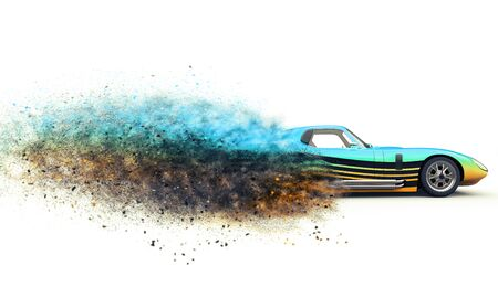 Awesome vintage race car disintegrating into particles