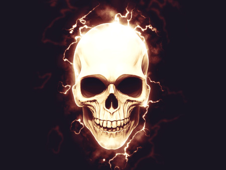 Electrifying skull with halo of electric arcs