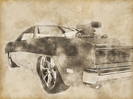 collectible: Vintage red muscle car drawing Stock Photo