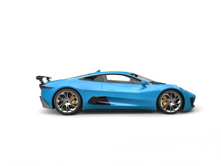 car tire: Sky blue elegant sports car - side view