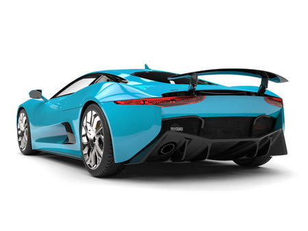 Dark turquoise sports car - tail view
