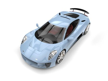 Light blue urban elegant super sports car