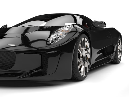 coupe: Elegant black super sports car - headlight closeup shot