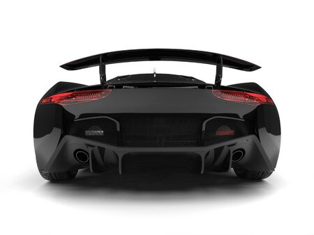 Jet black urban elegant sports car - tail and tail lights view Stock Photo