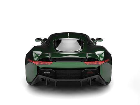 coupe: Metallic dark green elegant sports car - back view