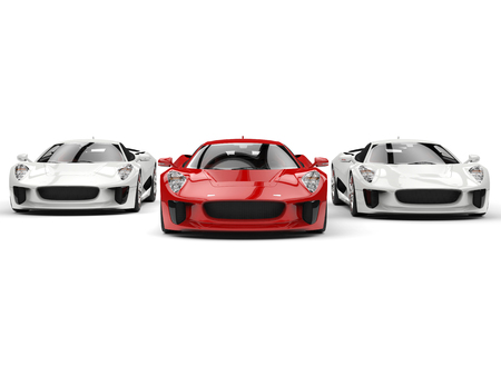 car tire: Awesome sports cars - red and white side by side - front view Stock Photo