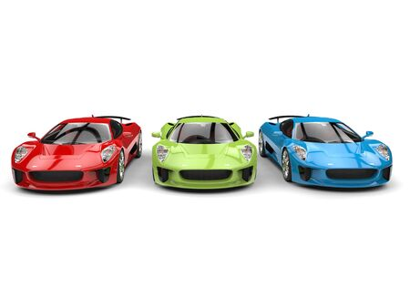 car tire: Red, green and blue elegant sports cars