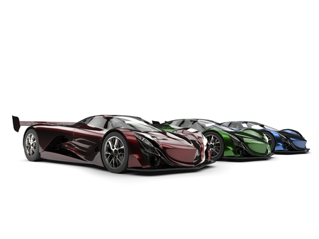 Metallic red, green and blue modern concept super cars in a row
