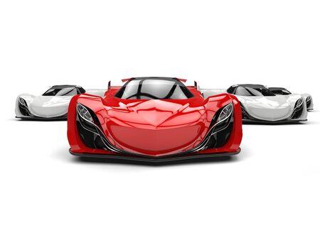 car tire: Crimson red futuristic concept sports car Stock Photo