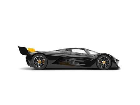Gunmetal black racing super car with yellow details - side view