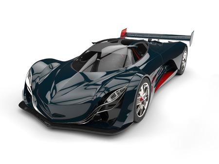 濃い青緑赤の詳細とレース コンセプト スーパー車