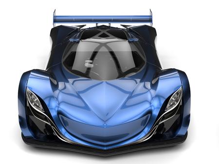 メタリック ブルーの素晴らしいコンセプト スーパーカー 写真素材
