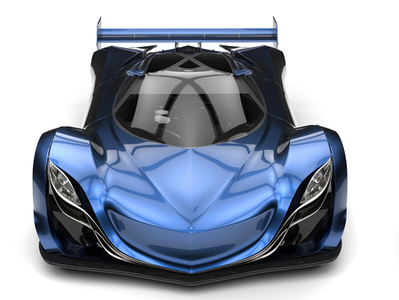Metallic blue awesome concept super car 版權商用圖片