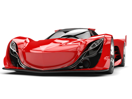Scarlet red awesome race super car - headlights view Stock Photo